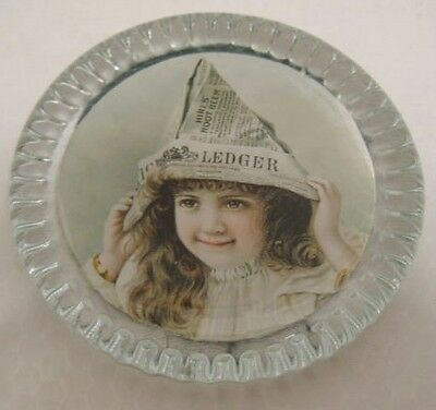 Old Advertising Glass Paperweight Hires Root Beer Girl w/ Ledger Newspaper