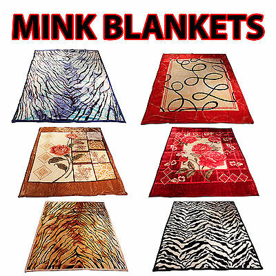 New Mink Blanket Queen King Size 200x240cm Printed Thick Heavy Warm