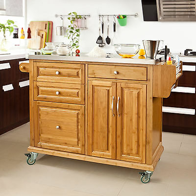 SoBuy® Large Kitchen Island Unit,Cabinet with Stainless Steel Worktop,FKW14-N,UK