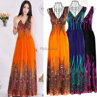 2016 New Boho Womens Summer Chiffon Ladies Party Evening Beach Long Maxi Dress
