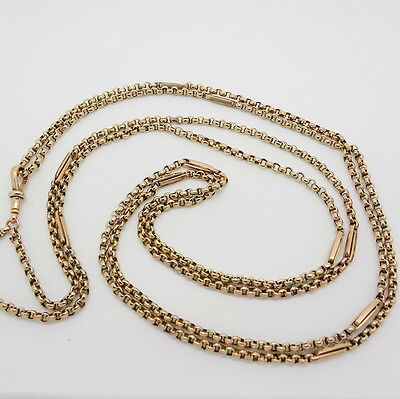 "9ct Rose Gold 60"" Long Belcher Chain Necklace with Bar Links"