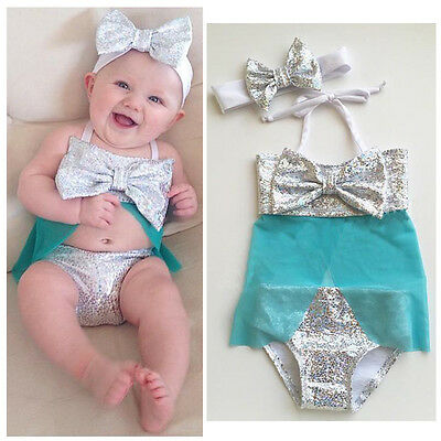 Baby Girls Costume Elsa Tankini Bikini Swimsuit Swimwear Swimmable Summer Beach