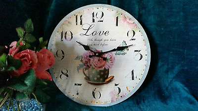 Lovely Country Style Round Wall Clock With Roses Ideal Gift Shabby Chic