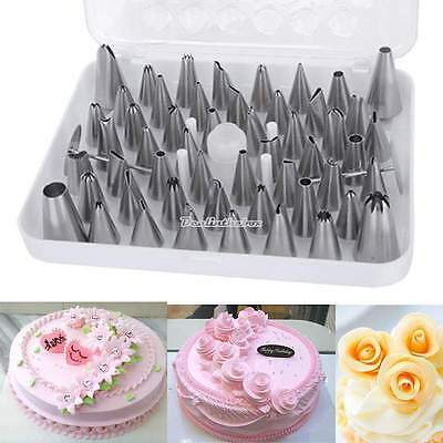 Set 24 52 Icing Cake Pastry Cream Piping Nozzles Tips Decorating Stainless Steel