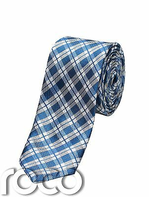 Boys Blue Plaid Tie, Slim Ties, Boys Plaid Accessories, Blue Ties