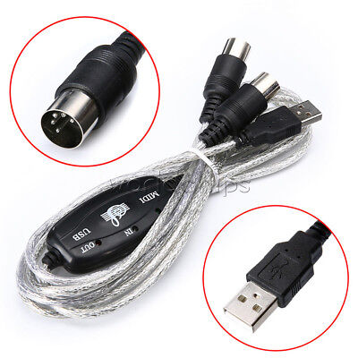 IN-OUT Interface MIDI USB Cable Converter PC to Music Keyboard Cord W