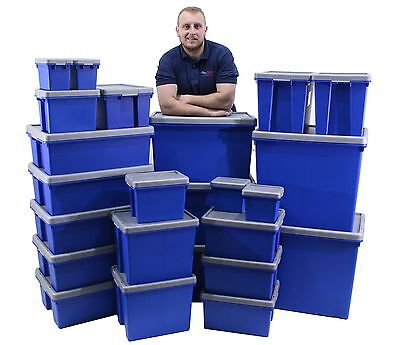 New Heavy Duty Commercial Type Stack & Nest Plastic Storage Box Boxes With Lids
