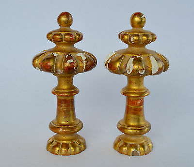 Pair of Dore Gilded Wood Curtain-Rod Bed Finials, French Architectural Decor