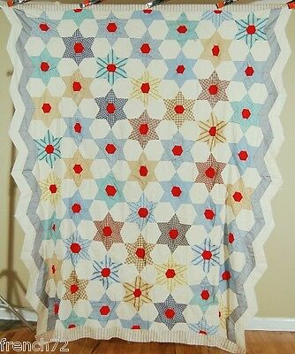 BEAUTIFUL Vintage 30's Touching Stars Antique Quilt Top ~ZIGZAG BORDERS!