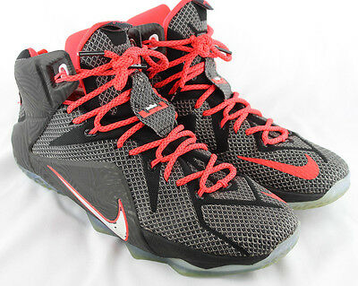 watch 2d6b7 6646d Lebron 12 XII Court Vision Black White Crimson Mens Basketball Shoe Sz 10.5   200