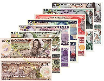 Mexico 7 Note Set 5 10 20 50 100 500 1000 Pesos Unc