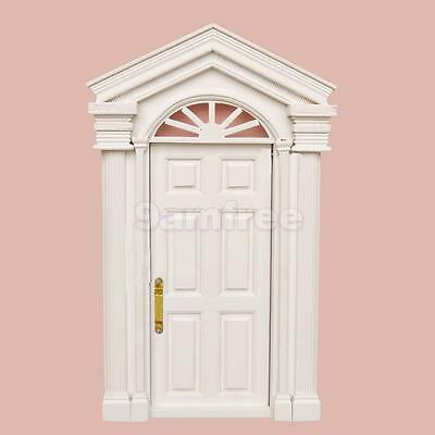 White External Wooden Door & Portico Dolls House Miniature Fairy Accessory
