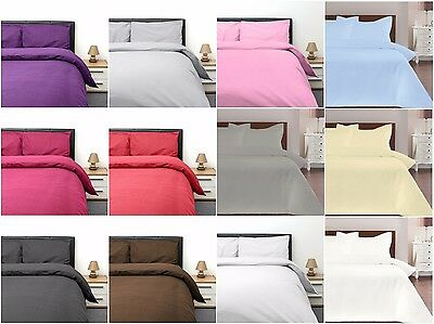 Plain Egyptian Cotton & Poly Duvet Cover & Pillowcase Set Single Double King