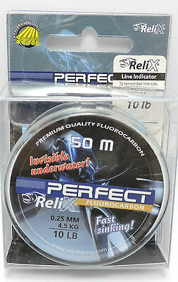 10Lb Fluorocarbon Relix Perfect Fluorocarbon Fishing Trace Leader Line 50M
