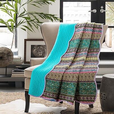 NEW Macey and Moore Morocco Blue Bed Throw 100% Cotton 150x200cm