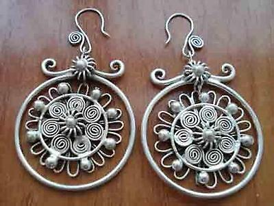Chinese minority Jewelry women's Miao silver earrings pair,Mother's Day Gift