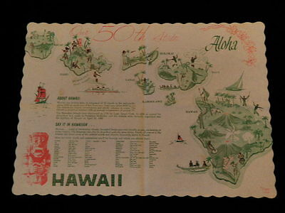 """Vintage 1959 Hawaii  """"Say it in Hawaiian"""" Paper Placemat with Information   A74"""