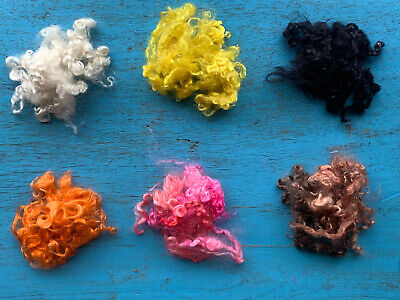 Heidifeathers® Curly Mohair Wool Locks - 6 Colors Mix. Hand Dyed, Dolls, Felting