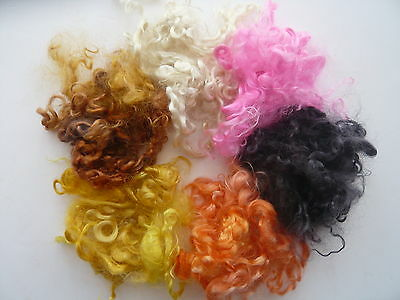 Heidifeathers Curly Mohair Wool Locks Mix - 6 Colors, Hand Dyed - Dolls, Felting
