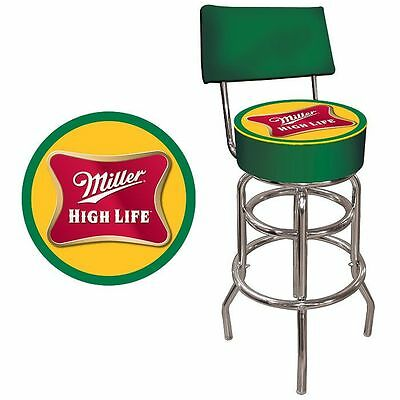 Trademark Miller High Life Padded Bar Stool with Back New