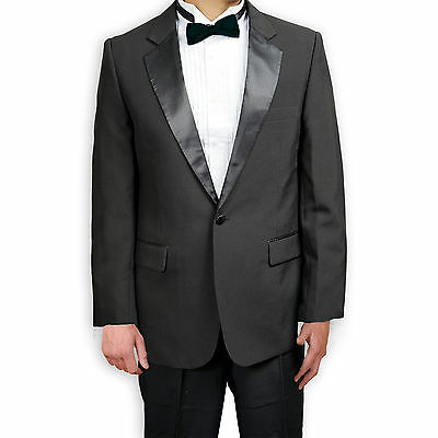 Men's Black Polyester Tuxedo Jacket with Notched Collar NEW, 36-60
