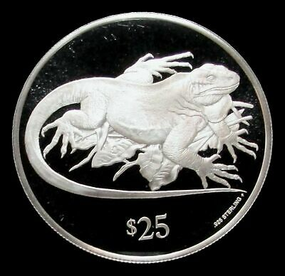 1993 Silver British Virgin Islands $25 Rock Iguana Endangered Wildlife Proof