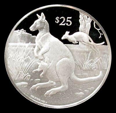 1993 Silver British Virgin Islands $25 Parma Wallaby Endangered Wildlife Proof