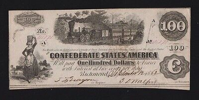 Usa 1862 Confederate States Of America-100 Dollar Banknote-Very High Grade