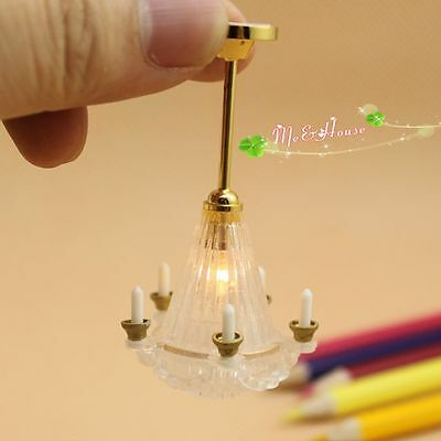 1/12 dollhouse candle Chandelier ceiling lamp 12 volt working light