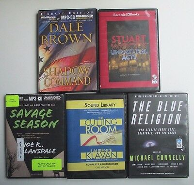 Lot of 5 UNABRIDGED MP3 - CD Mystery audiobooks Connelly Stuart Woods Dale Brown