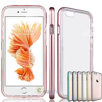 "For 4.7"" 5.5"" Plus iPhone 6 / 6S Aluminum Metal Frame Bumper Clear TPU Back Case"