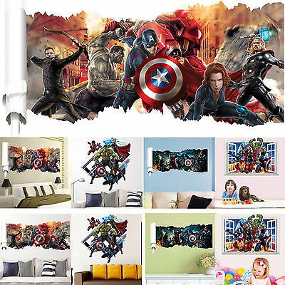 3D The Avengers Super Hero Vinyl Wall Sticker Art Decal Removable Home DIY Decor