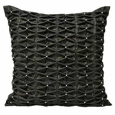 Black Ruched Square Cushion Cover Satin Beaded Pearl Scatter Cushion Case New