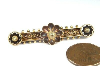 ANTIQUE VICTORIAN PERIOD ENGLISH 15K GOLD ETRUSCAN REVIVAL BAR BROOCH c1870