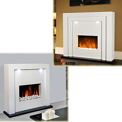 Electric Fireplace Fire Surround Living Room Floor Standing LED Lights MDF Inset