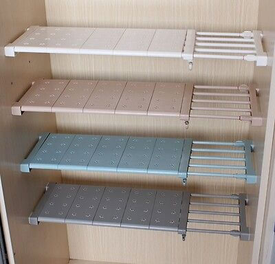 Expandable Shelf Closet Organizer Storage Bar Clothes Adjustable Rack Hanger Rod