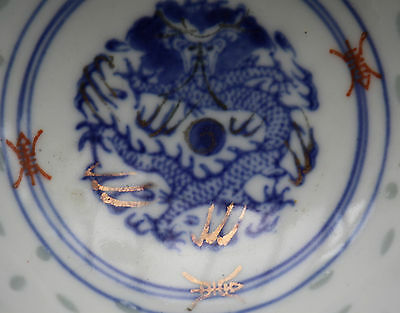 Antique Imperial Dragon Chinese Small Hand Painted Tea Saki Bowl 20th Century