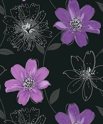Samba Motif Arthouse Floral Feature Wall Wallpaper Black  Purple Flowers 406005