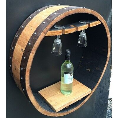 "Recycled Solid Oak Whisky Barrel Hand Crafted ""Vino"" Wine Shelf"