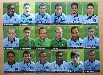 2012-13 Manchester City Signed Official Club Cards