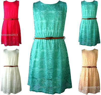 Girls Neon Floral Lace Skater Dress Retro Belted Party Net New Age 7-13 Years