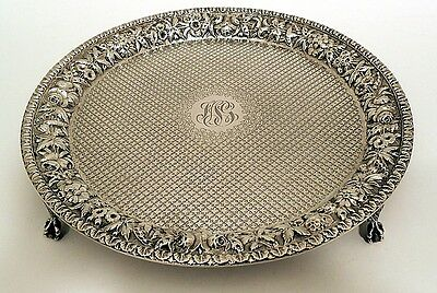 A repousse sterling waiter, S. Kirk & Son, c.1868-98