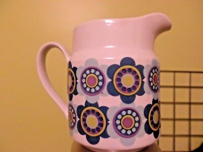Mid Century MOD 70's vibrant flowers milk syrup juice gravy pitcher flower power