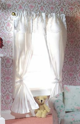 Dolls House Miniature 1/12th Scale Emporium Curtains on a Pole - White