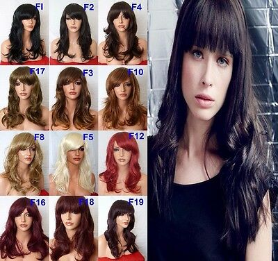 "Black Red Brown Blonde 19"" Frame-face Wig Layered FULL WOMEN LADIES FASHION WIG"