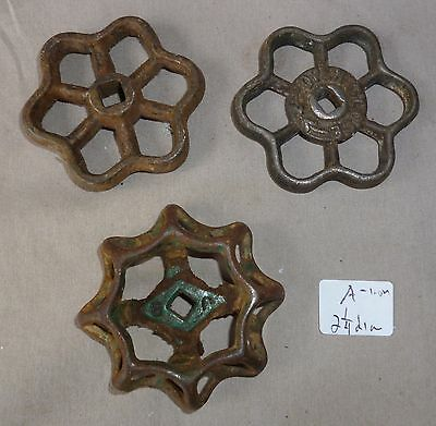 Antique Faucet handles (3) STEAMPUNK! cast iron Set # A