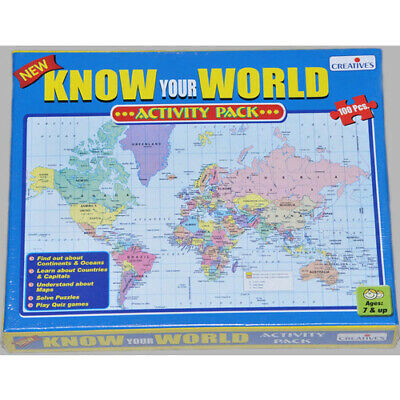 KNOW YOUR WORLD Educational JIGSAW PUZZLE Geography Game Learning HOMESCHOOL