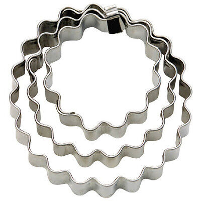 NEW Round Circles Crinkled Set of 3 Cookie Cutters 4, 5 & 6cm
