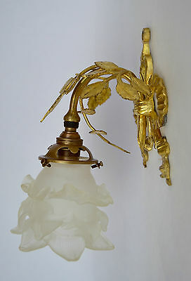 French Antique Louis XVI Rococo Gilded Dore Bronze Wall Lamp Sconce 19th.c