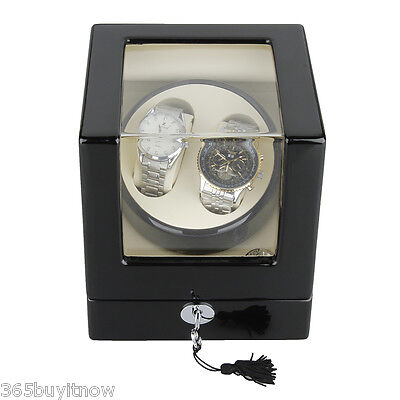 Luxury Rectangle Mute Automatic Watch Winder Storage Case Box Black with Lock UK